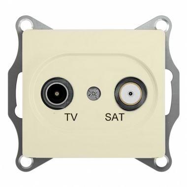 Розетка TV-SAT проходная 4DB механизм Glossa, бежевый Schneider Electric
