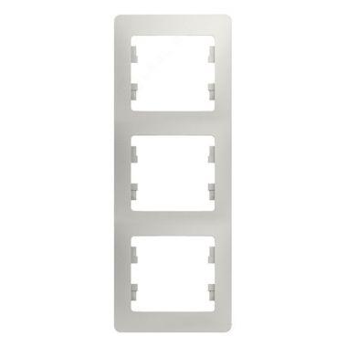 Рамка Glossa 3-постовая, вертикальная, перламутр Schneider Electric