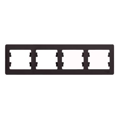 Рамка Glossa 4-постовая, горизонтальная, шоколад Schneider Electric