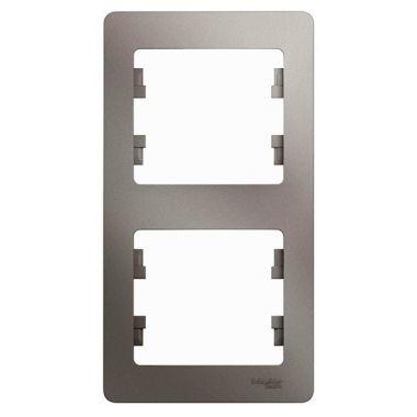 Рамка Glossa 2-постовая, вертикальная, платина Schneider Electric