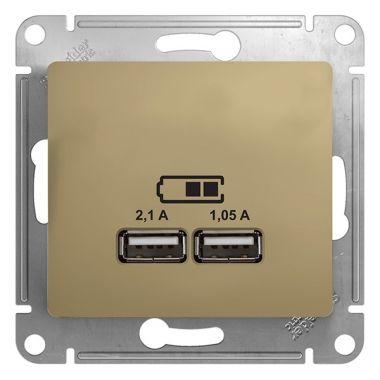 Зарядка USB  5В/2100мА, 2х5В/1050мА механизм Glossa, титан Schneider Electric
