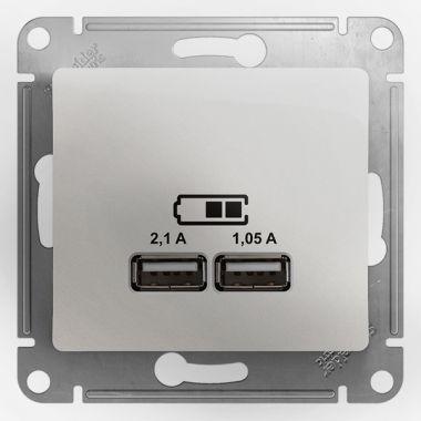 Зарядка USB розетка 5В/2100мА, 2х5В/1050мА механизм Glossa, перламутр Schneider Electric