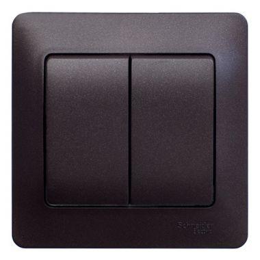 Выключатель 2-клавишный 10A в сборе Glossa, шоколад Schneider Electric