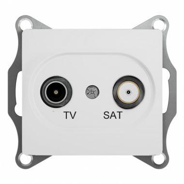 TV-SAT розетка проходная 4DB механизм Glossa, белый Schneider Electric