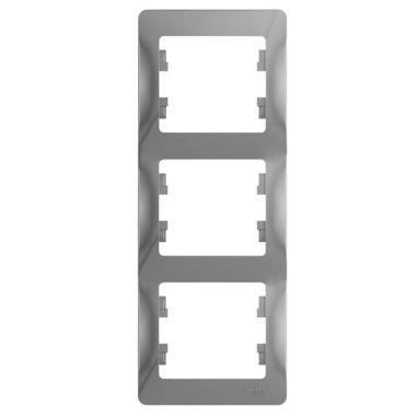 Рамка Glossa 3-постовая, вертикальная, алюминий Schneider Electric