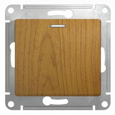Выключатель 1-клавишный с подсветкой 10А механизм Glossa, дерево дуб Schneider Electric