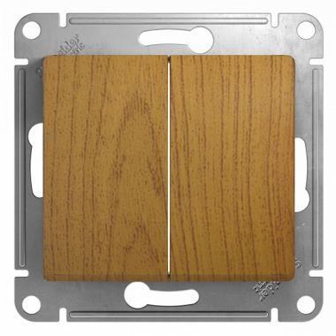 Выключатель 2-клавишный 10А механизм Glossa, дерево дуб Schneider Electric