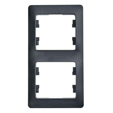 Рамка Glossa 2-постовая, вертикальная, антрацит Schneider Electric