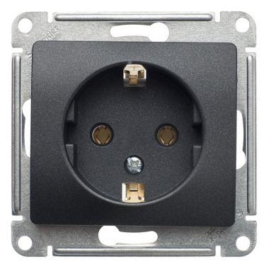 Розетка с заземлением 16А механизм Glossa, антрацит Schneider Electric