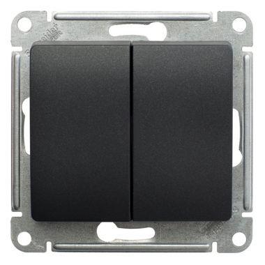 Переключатель 2-клавишный 10А механизм Glossa, антрацит Schneider Electric