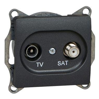 TV-SAT розетка проходная 4DB механизм Glossa, антрацит Schneider Electric