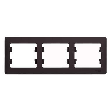Рамка Glossa 3-постовая, горизонтальная, шоколад Schneider Electric