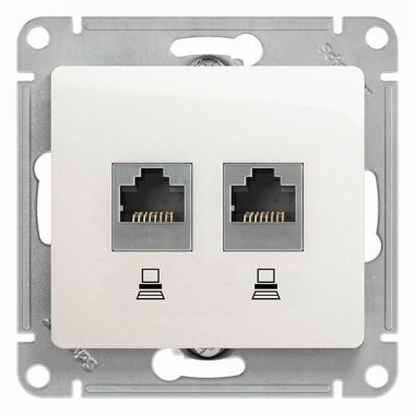 Розетка 2я компьютерная RJ45+RJ45 кат.5E механизм Glossa, белый Schneider Electric