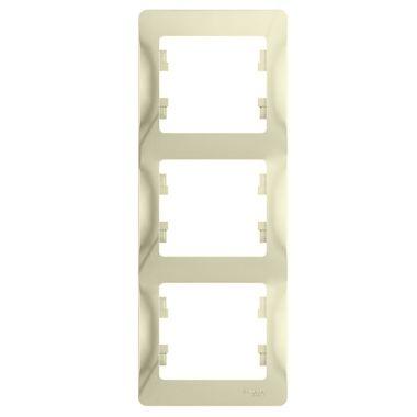 Рамка Glossa 3-постовая, вертикальная, бежевый Schneider Electric