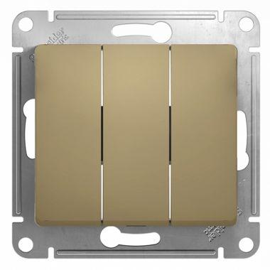 Выключатель 3-клавишный 10А механизм Glossa, титан Schneider Electric