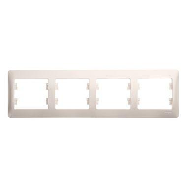 Рамка Glossa 4-постовая, горизонтальная, перламутр Schneider Electric