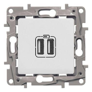 Зарядное устройство с двумя USB-разъемами тип А-A Etika 240В/5В 2400мА белый Legrand