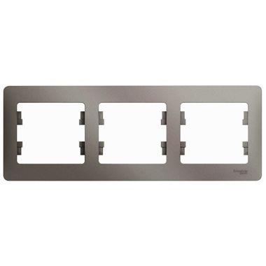 Рамка Glossa 3-постовая, горизонтальная, платина Schneider Electric