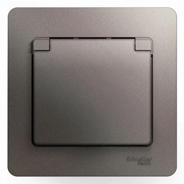 Розетка с заземлением со шторками с крышкой 16А IP20 в сборе Glossa, платина Schneider Electric