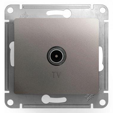 Розетка TV простая механизм Glossa, платина Schneider Electric