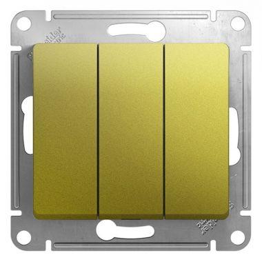 Выключатель 3-клавишный 10А механизм Glossa, фисташковый Schneider Electric