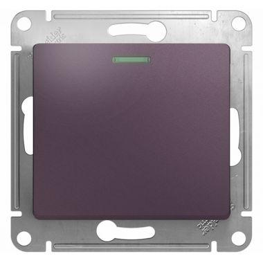 Выключатель 1-клавишный с подсветкой 10A механизм Glossa, сиреневый туман Schneider Electric