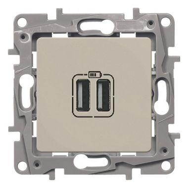 Зарядное устройство с двумя USB-разьемами тип A-С 240В/5В 3000мА Etika слоновая кость Legrand