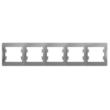 Рамка Glossa 5-постовая, горизонтальная, алюминий Schneider Electric