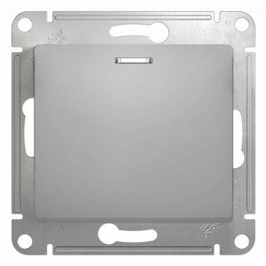 Переключатель 1-клавишный с подсветкой 10А механизам Glossa, алюминий Schneider Electric
