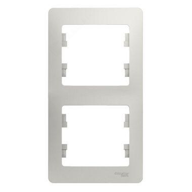 Рамка Glossa 2-постовая, вертикальная, перламутр Schneider Electric