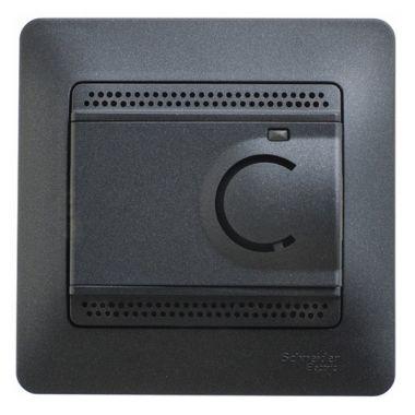 Термостат электронный теплого пола с датчиком от +5 до +50°C 10A в сборе Glossa, антрацит Schneider Electric