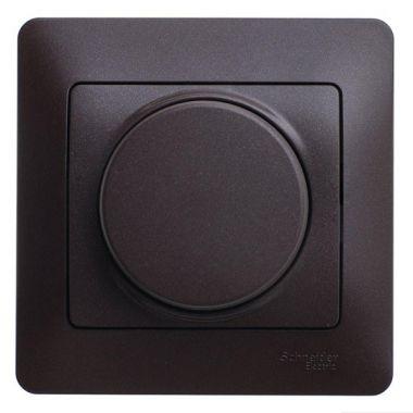 Светорегулятор (диммер) поворотный 300Вт в сборе Glossa, шоколад Schneider Electric