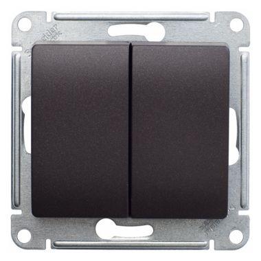 Выключатель 2-клавишный 10А механизм Glossa, шоколад Schneider Electric