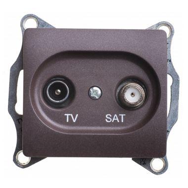 Розетка TV-SAT оконечная 1DB механизм Glossa, шоколад Schneider Electric
