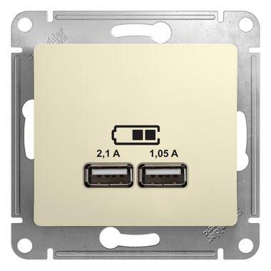 Зарядка USB розетка 5В/2100мА 2х5В/1050мА механизм Glossa, бежевый Schneider Electric