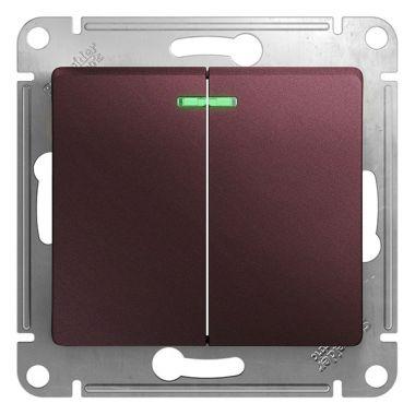 Двухклавишный  выключатель с подсветкой  5а 10A  механизм  Glossa, баклажановый Schneider Electric
