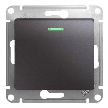 Выключатель 1-клавишный с подсветкой 10A механизм Glossa, графит Schneider Electric