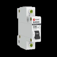 Выключатель автоматический, однополюсный 1P 6А (C) 4,5кА ВА 47-29 EKF Basic