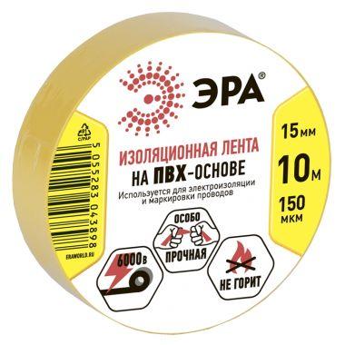 ПВХ-изолента 15ммх10м желтая Эра