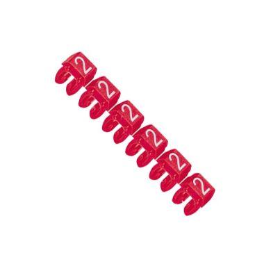 Маркер CAB3 для кабеля 0,5-1,5 мм2, цифра 2, красный Legrand