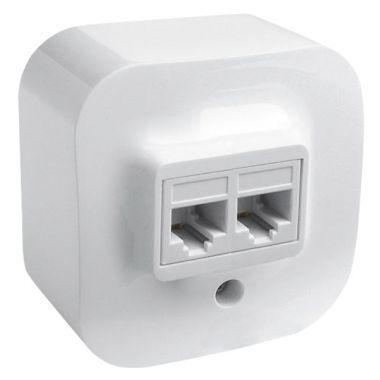 Розетка Quteo компьютерная 2xRJ45, кат.5e UTP белый  Legrand
