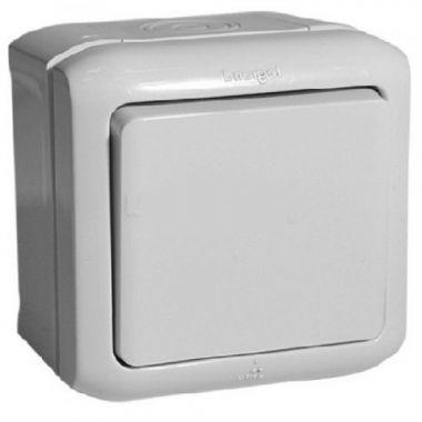 Переключатель Quteo 1-клавишный, IP44, серый Legrand