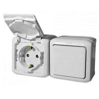 Розетка+выключатель Quteo, IP44, с заземлением, с защитными шторками, белый Legrand