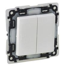 Выключатель 2-клавишный, IP44 10А, с лицевой панелью, безвинтовые зажимы, Valena Life, белый Legrand