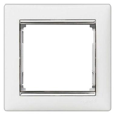 Рамка Valena 1-постовая белый/серебряный штрих Legrand