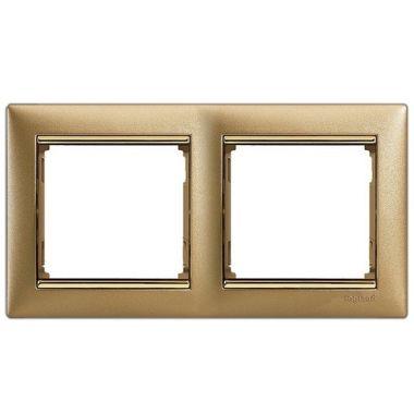 Рамка Valena 2-постовая матовое золото/золотой штрих Legrand