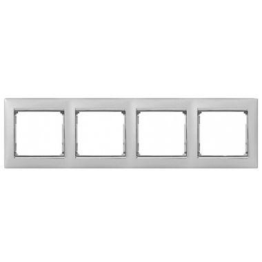 Рамка Valena 4-постовая алюминий/серебряный штрих Legrand