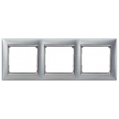 Рамка Valena 3-постовая матовый алюминий/серебряный штрих Legrand