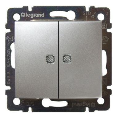 Переключатель Valena 2-клавишный, с подсветкой алюминий Legrand