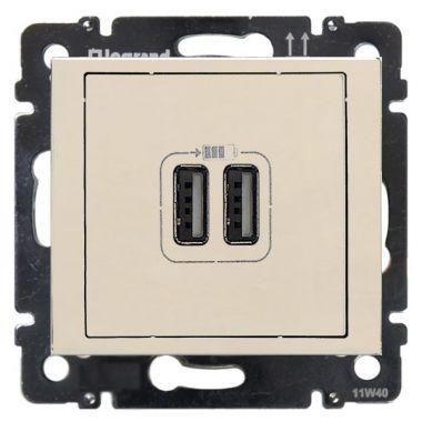Розетка 2-ая USB зарядка 2400mA тип А-A Valena слоновая кость Legrand